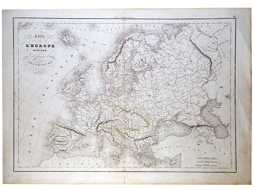 Antique  engraving Felix Delamarche French  map of Europe 1838