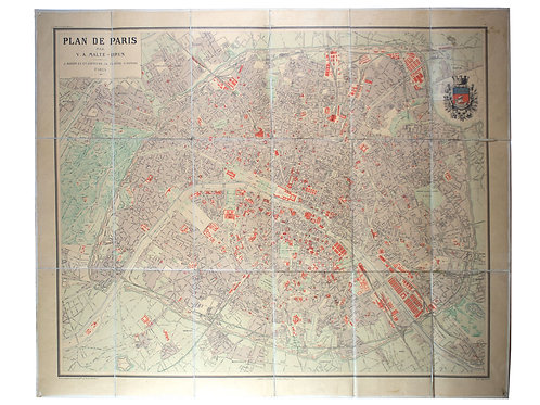 883 LARGE FRENCH ANTIQUE MAP OF PARIS Malte-Brun on linen backing