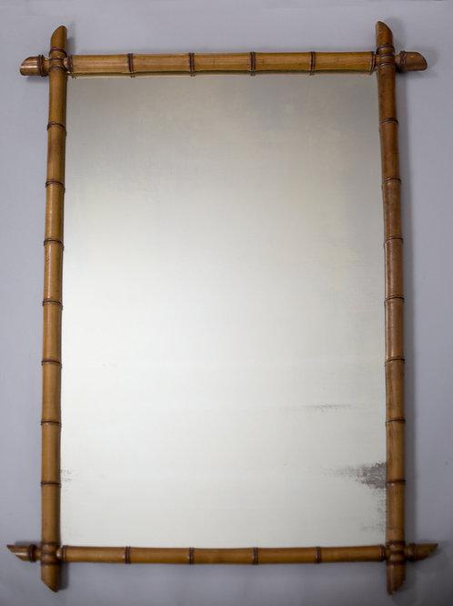 LARGE ANTIQUE FRENCH MIRROR 1900 faux bamboo art nouveau