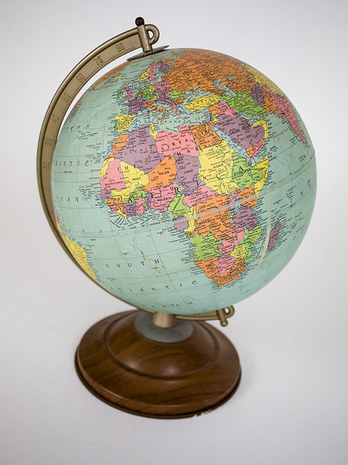 "1960 mid century 10"" Terrestrial globe Replogle"