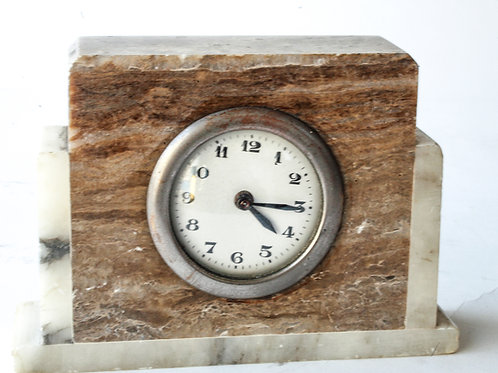 French art deco marble desk clock
