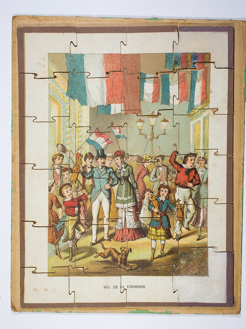 """FRENCH antique puzzle late 19th early 20th """" la kermesse """""""