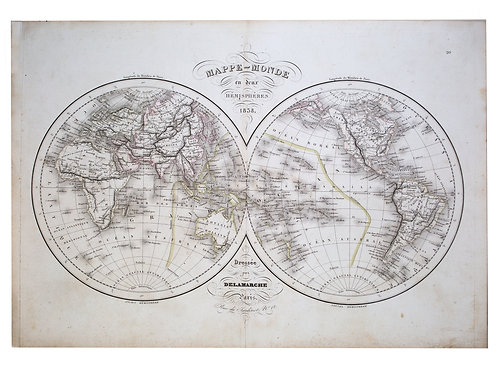 Antique Felix  Delamarche Vaugondy Mappemonde Double hemisphere world map 1838