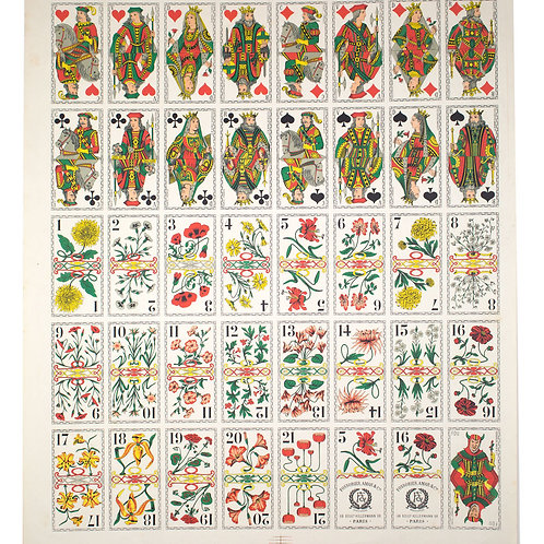 Uncut sheet French flower tarot FOSSORIER AMAR & Cie Paris from drawings by E.HE