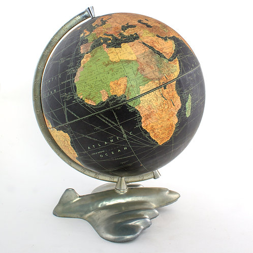 "12"" antique table terrestrial globe WEBER COSTELLO PLANE BASE black globe 1950's"