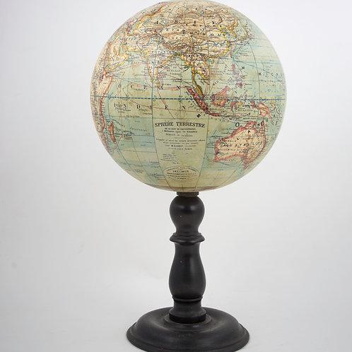 "12"" TERRESTRIAL FRENCH ANTIQUE TABLE GLOBE IKELMER 1880 SCHOOL GLOBE"