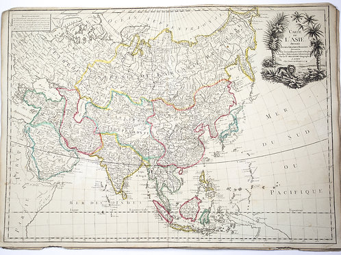 Large Antique French map of Asia 1779 by Delafosse engraved in lyon