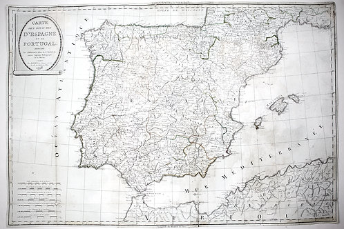Large Topographic Engraving Antique French map of SPAIN PORTUGAL 1798