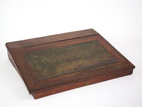 French Antique Wood Folding Portable Travel Writing Box Case