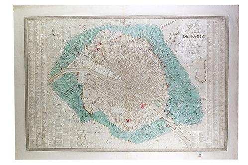Large map engraving of Paris 1834 Herisson Cartographer