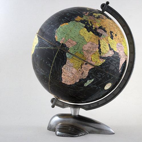 "12"" 1935 antique table terrestrial globe WEBER COSTELLO PLANE BASE black globe"