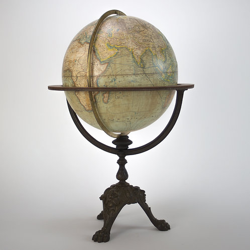 "Unusual 1880 LEBEGUE 12"" FRENCH TERRESTRIAL GLOBE ANTIQUE"