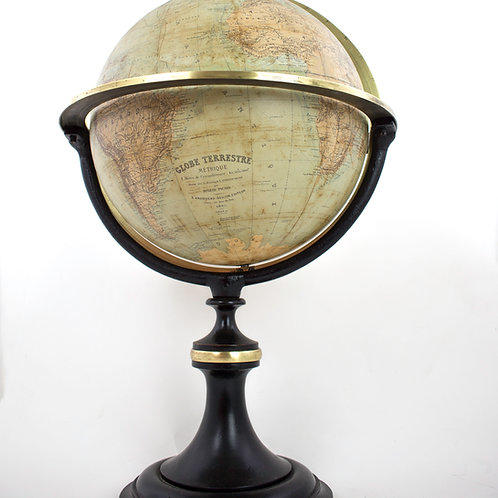 "1865 French antique terrestrial globe 14 "" Andriveau-Goujon editeur"