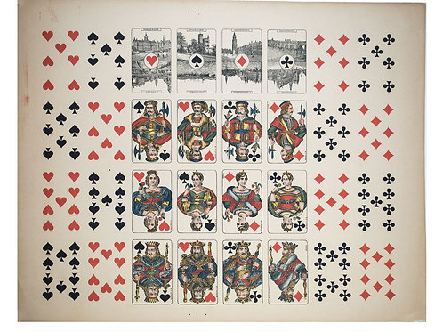 Uncut sheet playing card French suite Grimaud late 19th Holland Ace