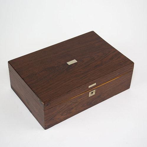 French Antique Wood Portable Travel Writing Box Case Palisandre cigar box