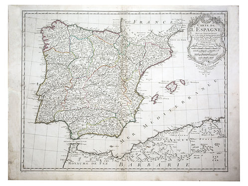 e L'Isle Philippe Buache Engraved cooper  map of Spain 1789