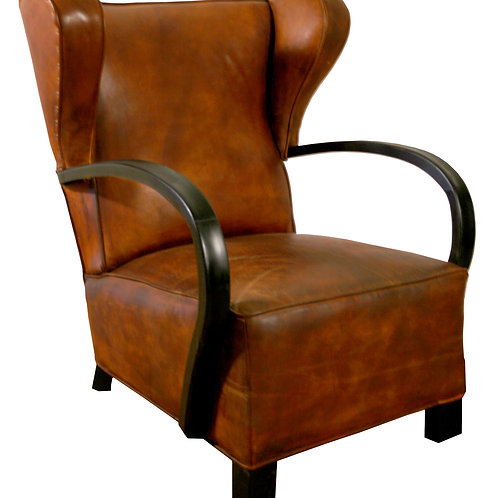 FRENCH ART DECO PAIR OF CLUB CHAIR ROYERE STYLE Wingback