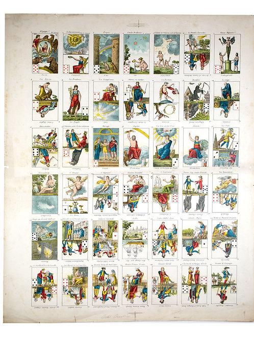 """Uncut sheet French Tarot card  """"le petit oracle des dames """" 1797"""