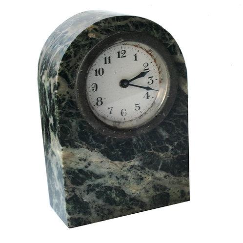 Green marble French Art Deco desk clock