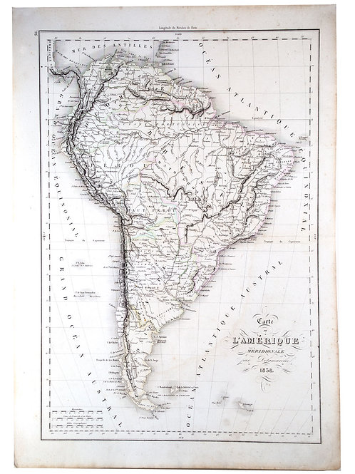 Antique French Engraving Felix Delamarche map South America 1838