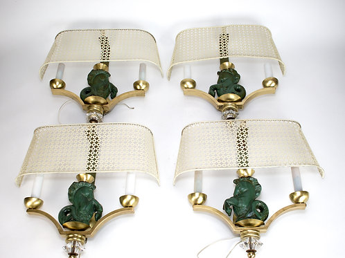 French mid century Asselbur George Jouve set of 4 sconces Mathieu Mategot