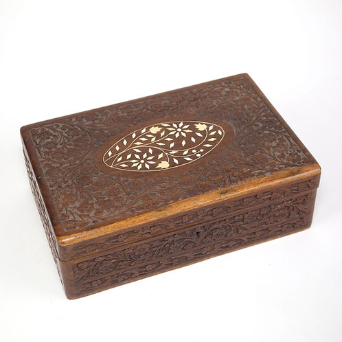French Antique Wood Portable Travel Writing Box Case hand carved