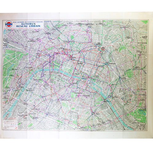 Large Paris  bus stop  RATP map with numbered lines 1963 Tarride