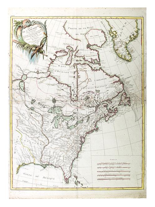 Rigobert Bonne  map of North america 1773  Louisiana and the British claims