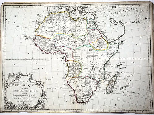 Large Antique French map of Africa 1779 colored by Delafosse engraved in lyon