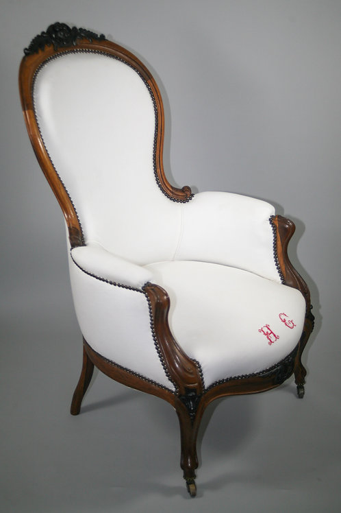 LOUIS PHILIPPE pair of FRENCH ARMCHAIRS BERGERE 19th solid mahogany linen
