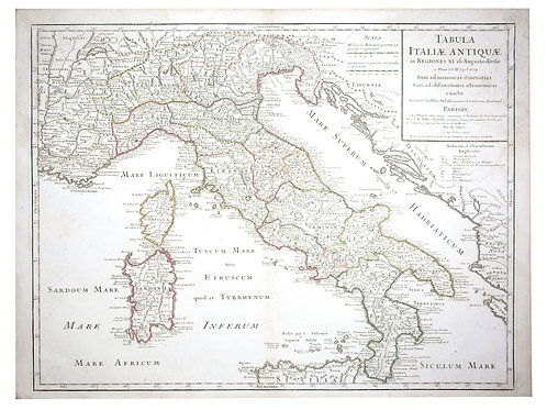 De L'Isle Philippe Buache  engraved  map of Antique Italy 1789