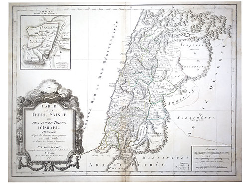 De L'Isle Philippe Buache engraved  map of Antique Israel 1797