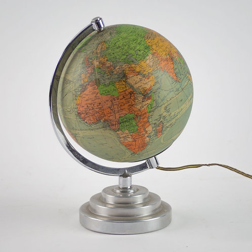 "1950 7"" Perrina and M.Picquart FRENCH ANTIQUE TERRESTRIAL GLOBE MAPPEMONDE GLASS"