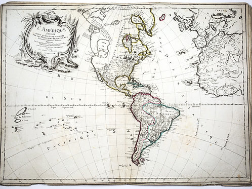 Large French map of the Americas  published by Delafosse in Lyon 1779