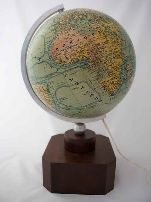 ADNET FRENCH TERRESTRIAL GLASS GLOBE FOREST ART DECO MODERNIST DESK ACCESSORY