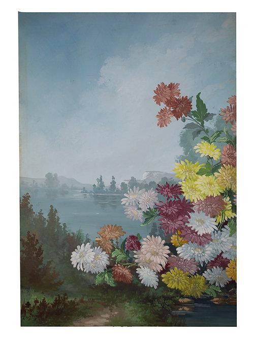 FRENCH aquarellist painting of the Seine river Normandy Henri Adam 1890