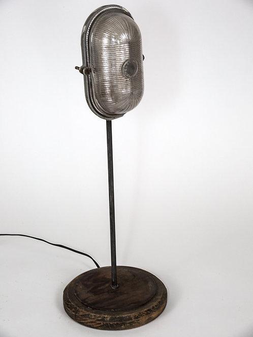 SMALLER FRENCH INDUSTRIAL MODERNIST HUBLOT  FACTORY DESK LAMP CAGED LIGHT