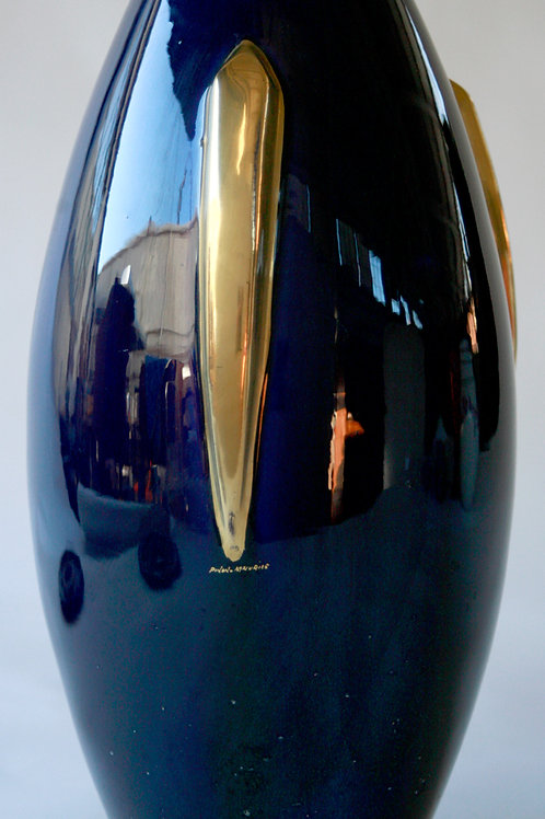 French art deco  deep bleu vase with gold applique