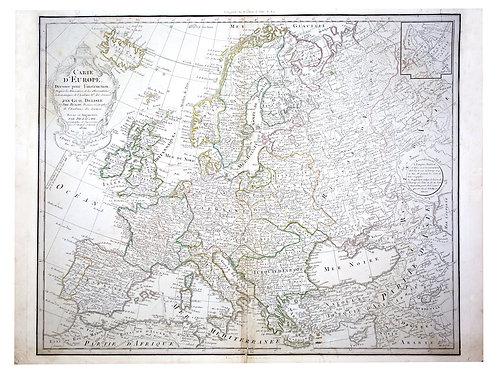 De L'Isle Philippe Buache Engraved cooper  map of Europe 1800