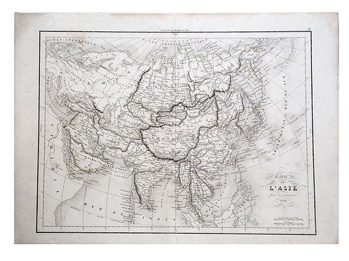 Antique French engraving Felix  Delamarche Vaugondy Asia map 1838