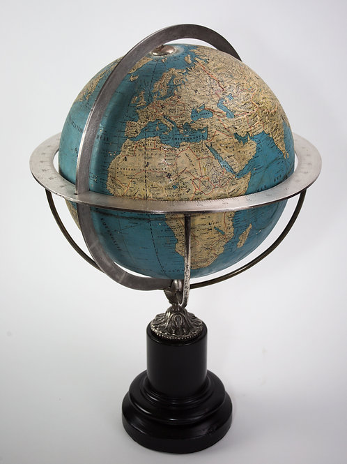 "1860 LARGE 14"" THURY & BELNET FRENCH ANTIQUE TERRESTRIAL GLOBE MAPPEMONDE"