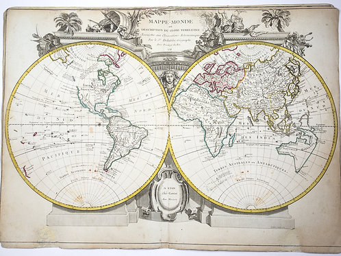 Large colored Delafosse French planisphère map of the world 1779