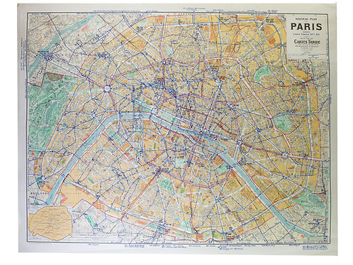 Large Paris  bus stop map with numbered lines 1963 Tarride