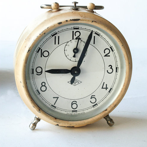 French white  Art Deco alarm Clock Japy