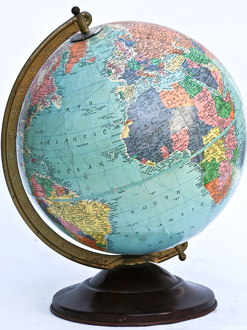 "1960 mid century 12"" Terrestrial globe Replogle blue sea with outlined continent"