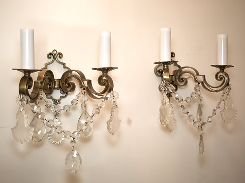 FRENCH pair of Sconces in Bronze with Crystals 19th neo classic