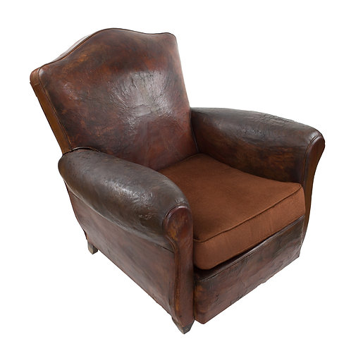 1 FRENCH ART DECO LEATHER CLUB CHAIR ORIGINAL CONDITION camel back