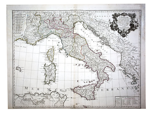 De L'Isle Philippe Buache engraved map of Italy 1802