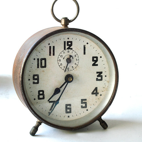 French art Deco metal alarm clock