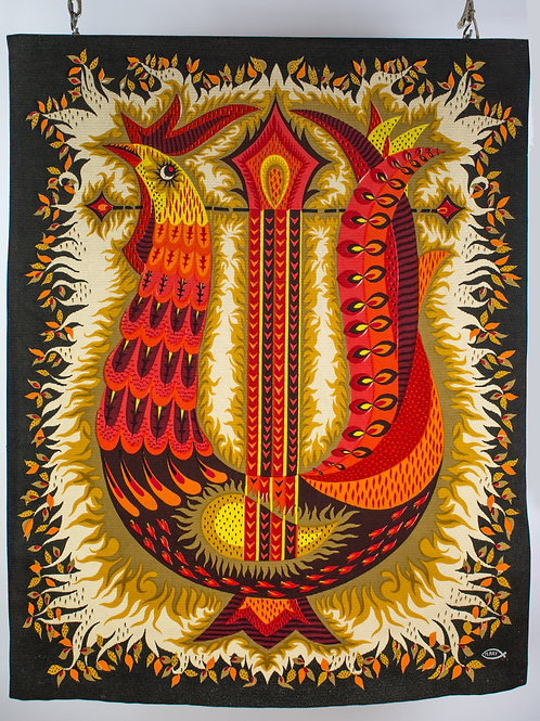 """RAY Michèle cartonnier  for ROBERT FOUR """"Oiseau lyre"""" Aubusson tapestry"""